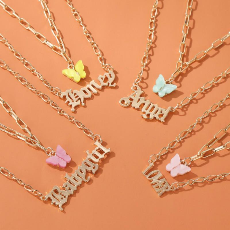 패션 다층 여성 목걸이 다채로운 나비 babygirl 천사 편지 알파벳 펜 던 트 체인 여자 여자 선물에 대 한 목걸이