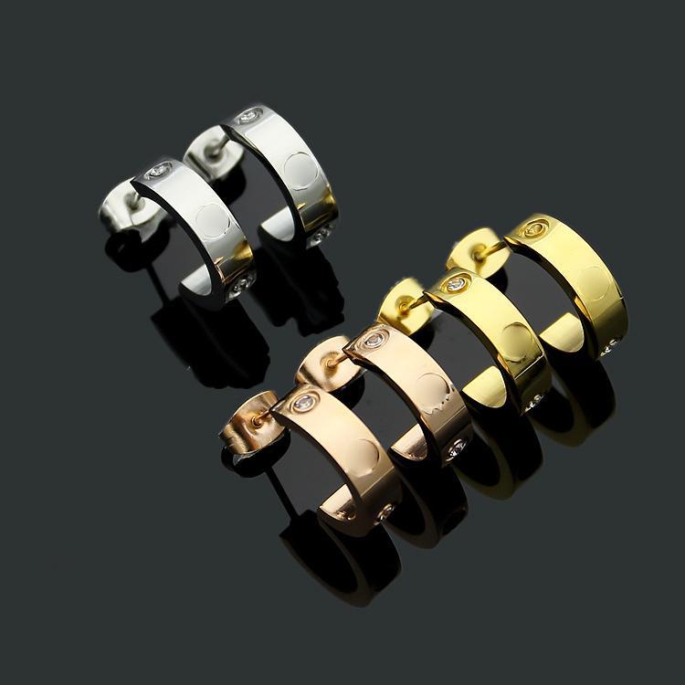 acier de titane rose 18K boucles d'oreilles d'amour d'or pour femme exquise façon simple C bague en diamant dame cadeau bijoux boucles d'oreilles