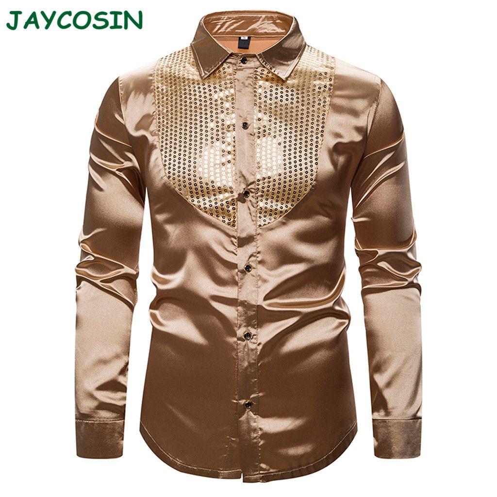 Erkek Casual Gömlek Jaycosin Erkek Giysileri Katı Sequins Gömlek Moda Uzun Kollu Gece Kulübü Gösterisi Hosting Yaka Bluz Sonbahar Kış 1126