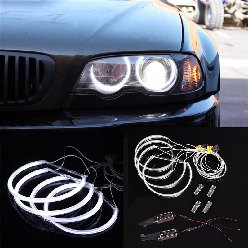 4PCS CCFL Car Angel Eagle Eyes Light Flexible Tube Headlight White Headlamp For BMW E36 E38 E39 E46 projector (131*4)