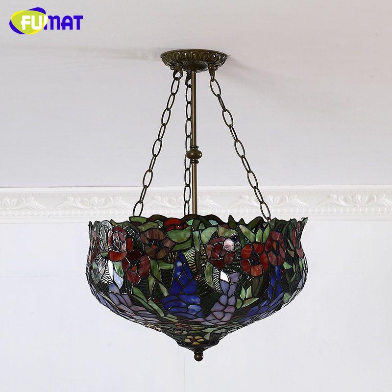 FUMAT Pendentif En Verre Teinté Style Européen En Verre Art Luminaires Pour Le Salon Salle À Manger Classique Lampe Tiffany Lamparas