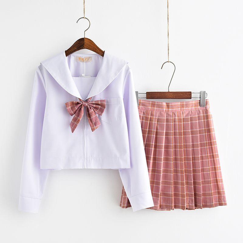 UPHYD Cotton Shirt Plaid Skirt High School Uniform Teenage Girls Sailor Uniforms S-XXL C18122701