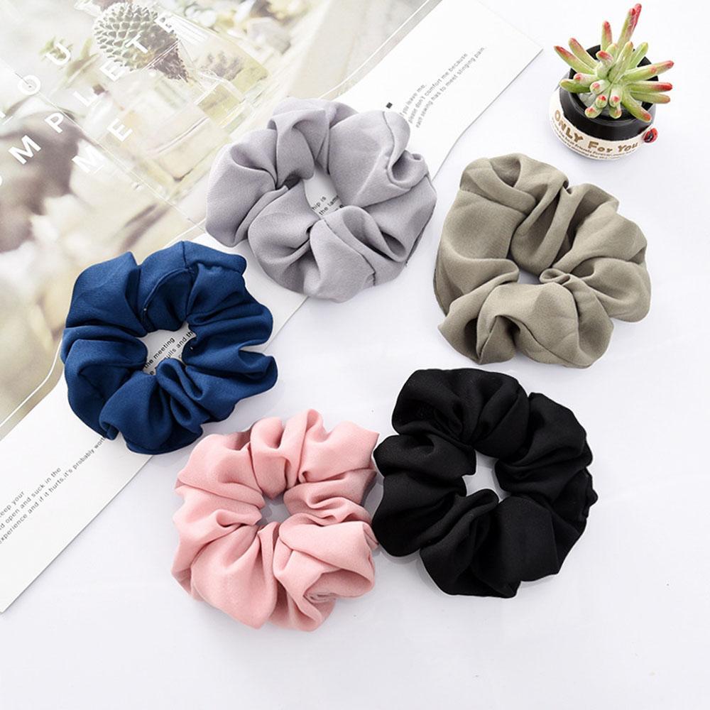 Acessórios do cabelo cor sólida Tie Scrunchies Chiffon rabo de cavalo cabelo Scrunchy Titular corda Headwear Para Meninas Mulheres