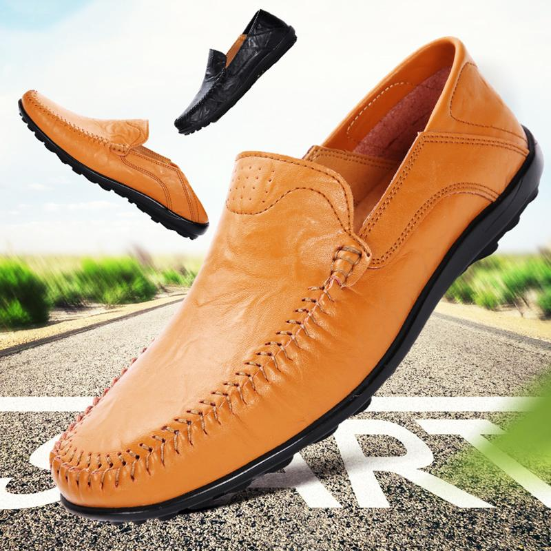 New men's loafers casual flat driving boat shoes leather oversized large size 47 brown comfortable home cheap 2020 lightweight