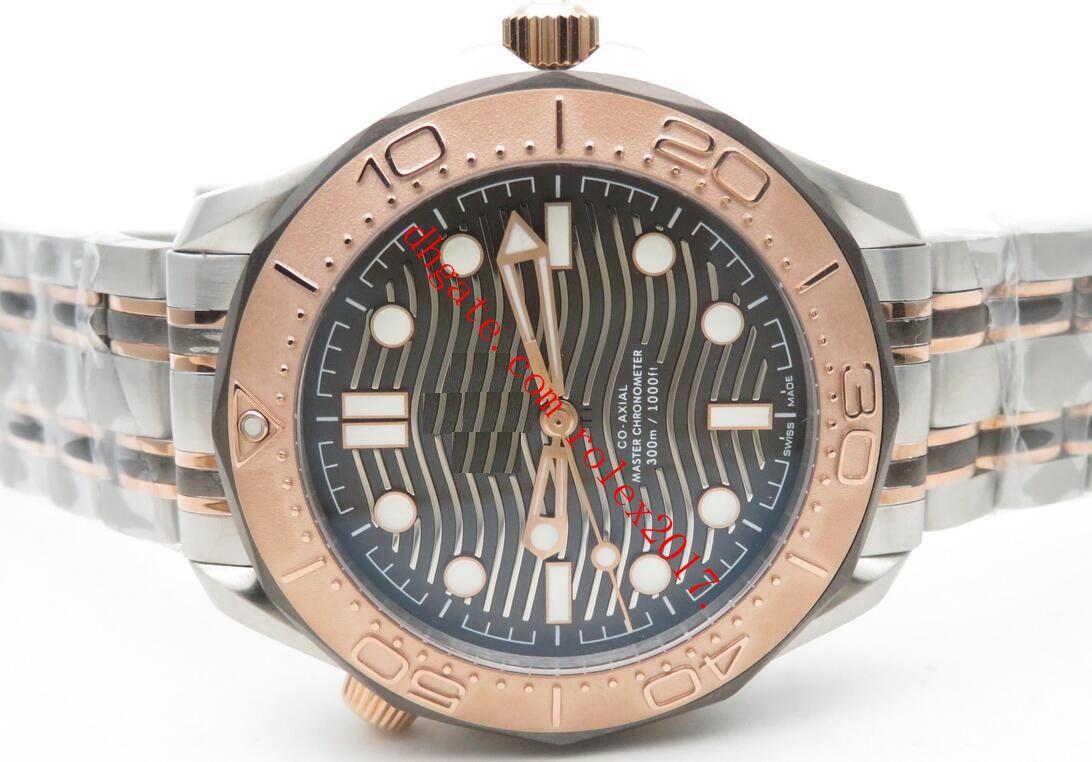 Di lusso degli uomini di qualità OM fabbrica 300m Diver Tit Tantanlum oro rosa placcato Lunetta Acciaio 316F Calibro 8806 automatico orologi 2019