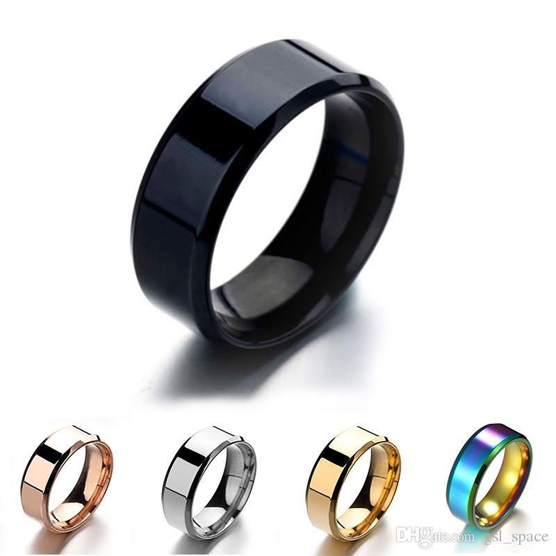 الأزياء والمجوهرات 8MM الفولاذ المقاوم للصدأ عصابة الفرقة التيتانيوم الفضة الذهب الأسود للرجال والنساء حجم 6-13 زفاف خطوبة مرآة تلميع الدائري