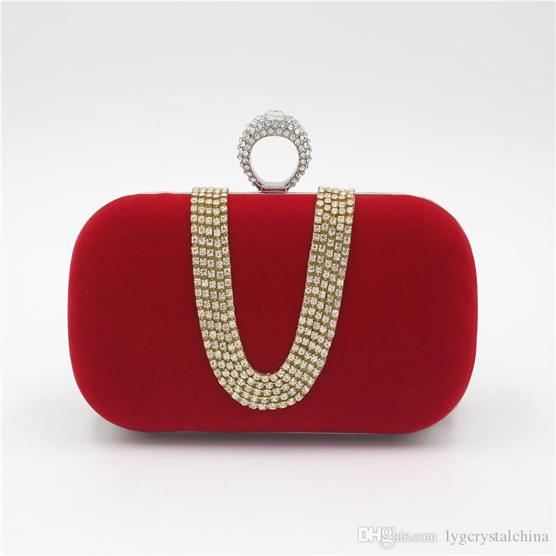 Women lock Solid Evening Party Clutych handbag Small Square Single Shoulder Bag