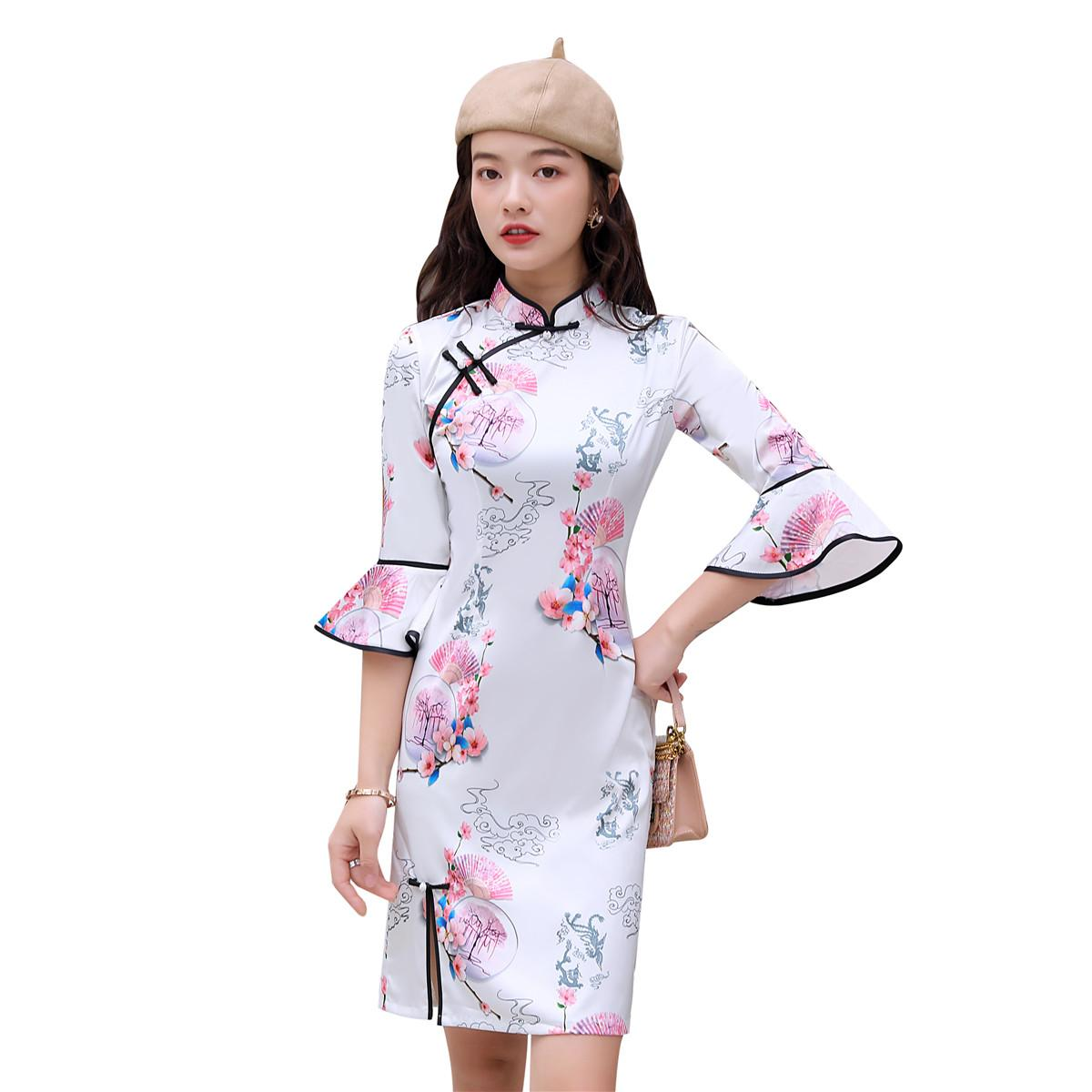 Kadınlar Kız Şanghay Story Flare Kol Çinli Cheongsasm Elbise Qipao Elbiseler
