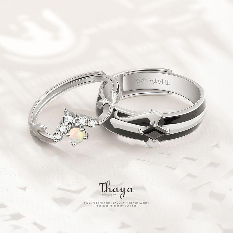 Contes de fées série Thaya S925 argent sterling anneaux colorés Conception d'Opale Anneaux Couple pour les femmes fille Bijoux