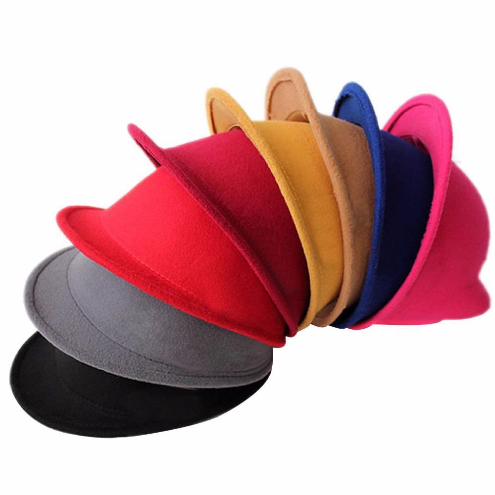 Laine d'oreille mignon Chat d'hiver Felt Fedora Hat Fille Garçon Kid enfants Derby Bowler Cap