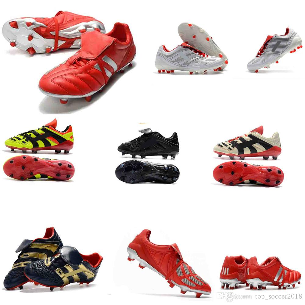 Super Quality 100% Original Full Black Messi Soccer Cleats Mens Predator Mania Predator Accelerator Electricity FG Soccer Shoes