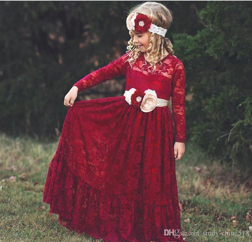 Robe de fille de fleur rose Boho robe de première communion petite fille col rond manches longues robe de mariée pour enfants