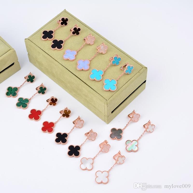 여성과 여자 친구의 보석 선물, 자연 검은 마노와 호랑이 돌 최고 품질 S925 순수 실버 2 꽃 모양의 후프 귀걸이
