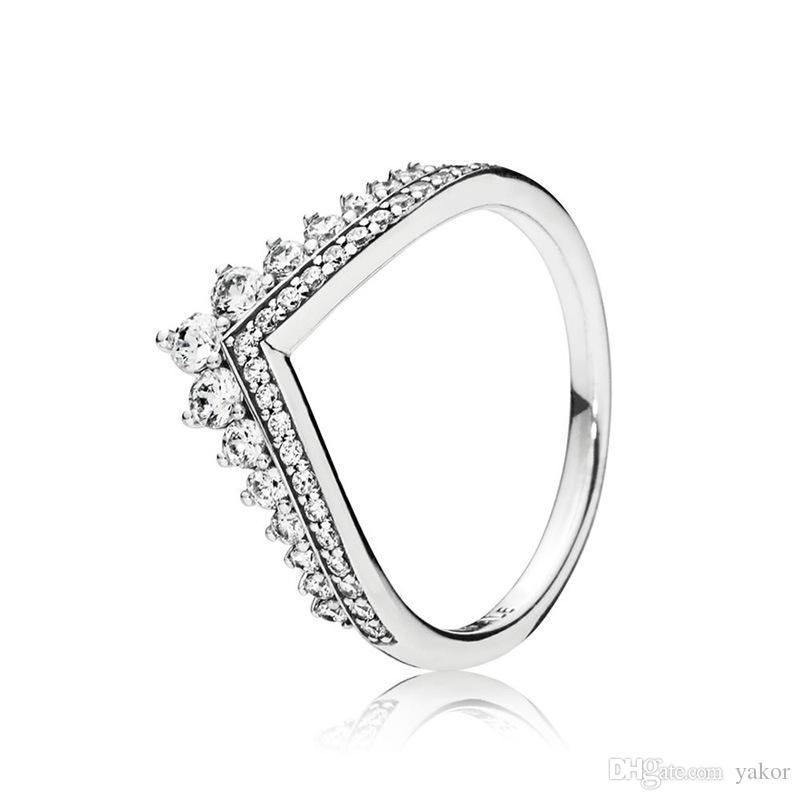 새로운 도착 여성 공주 왕관 판도라 925 스털링 실버 CZ 다이아몬드 반지 세트에 대한 기존 선물 상자와 반지