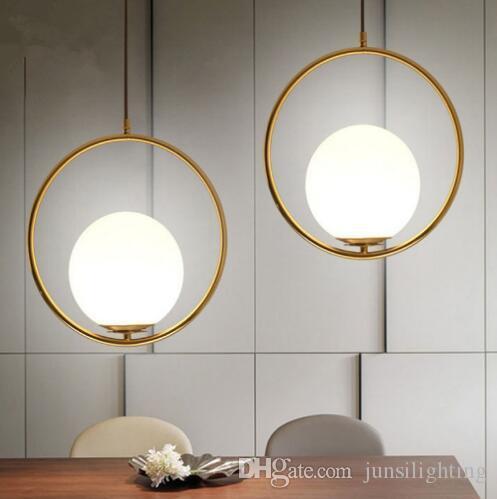 Simple Gold brass Ring pendant lighting for restaurants Milky glass ball Planet cord pendant light gold