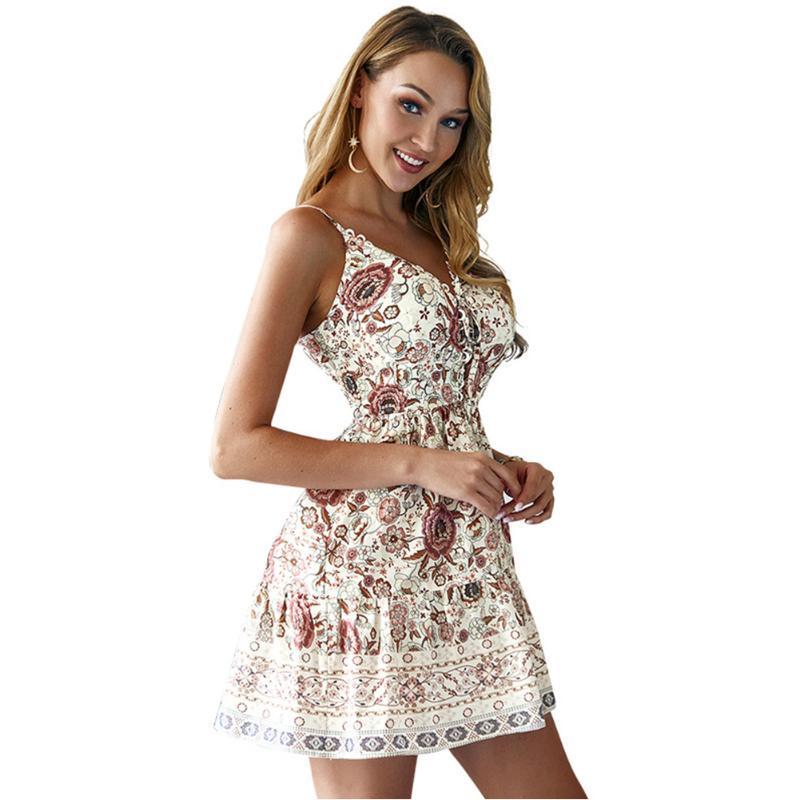 Playa del tirante de espagueti vestido de las mujeres de vacaciones drapeado Mini ocasional hermoso cuello en V citas Partido de la impresión floral de viaje moda para el verano
