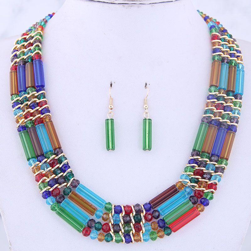 Kristallschmucksachen für Frauen Afrikanischer Perlen Schmuck-Set Goldfarben-mehrschichtigen Statement-Kragen-Halskette Ohrring-Sätze 2020