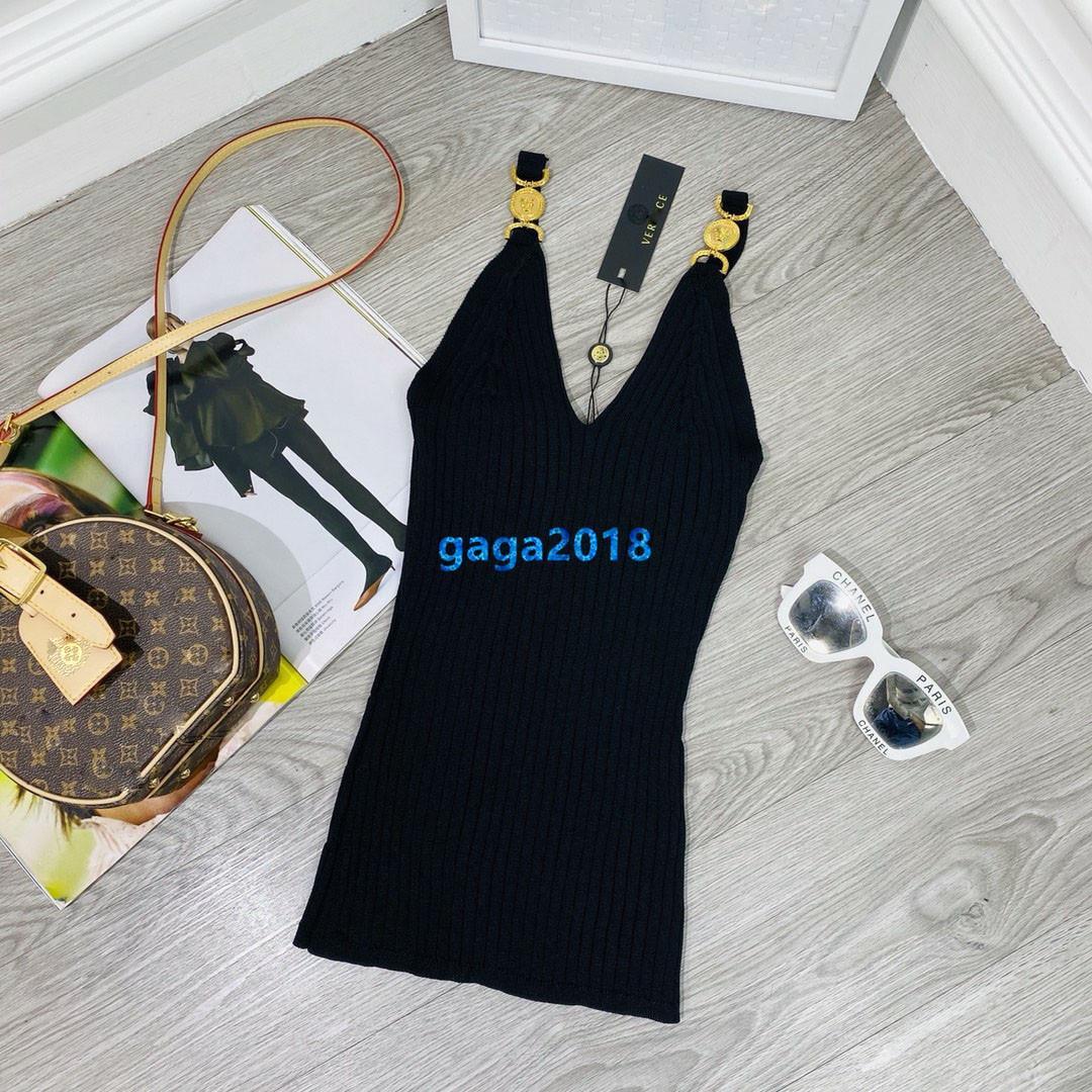 muchachas de las mujeres de gama alta de punto chaleco Camis camiseta con el botón de oro tono de rayas sleevesless camiseta atractiva milano diseño suéter de la manera tapas de lujo