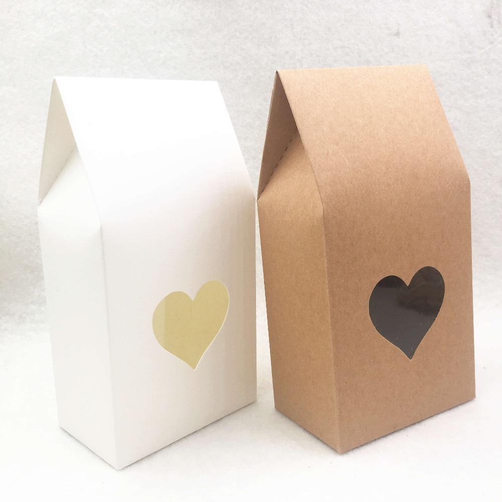 30pcs Brown/white Paper handmade candy bags Paper brown stand up window gift boxes for wedding/Gift/Jewelry/Food Packing Bags