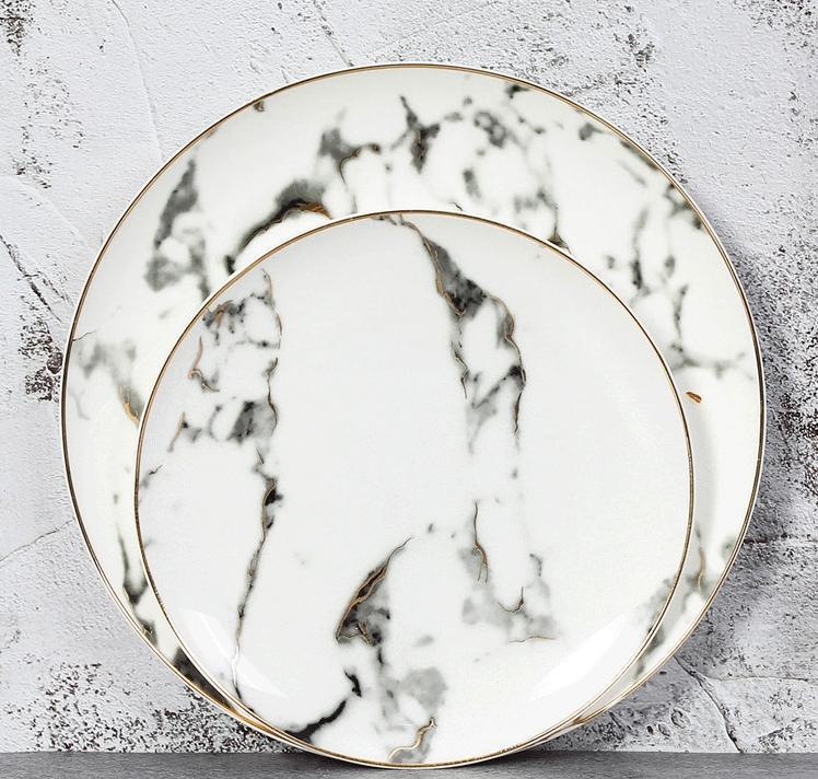 Mármol Europeo de cerámica redondo del oro embutido de China de hueso de placas ajustado filete Postre Porcelana Placas platos caseros de cocina Vajillas