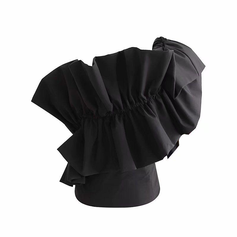 women sexy cascading ruffles irregular one shoulder black blouse female casual elastic shirt chic femininas blusas tops LS4363
