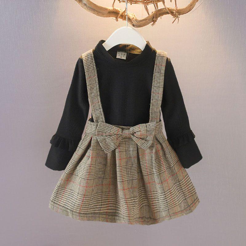 Meninas bonito grade vestidos estampados 3 Design Outono Inverno manga comprida crianças Design As meninas vestido de princesa vestido 1-7T 04