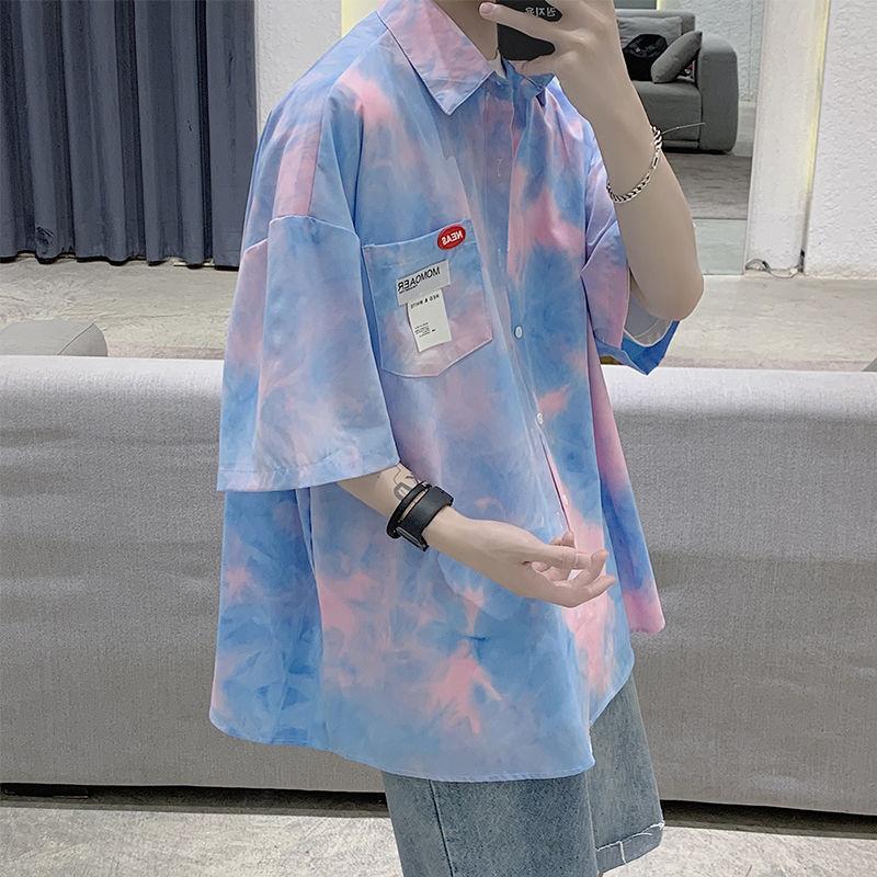2020 uomini popolari Estate Gioventù Nuova Tintura versione coreana allentato cinque punti shirt manica Fashion Casual Giacca rosa / verde
