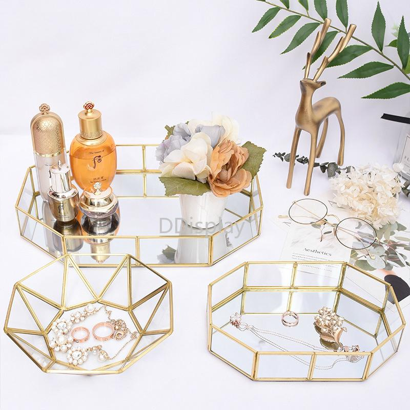 [DDisplay]Geometric Polygon Retro Jewelry Disk Creative Glass Tray with Mirror Base Personalize Cosmetic Glass Display Organizer