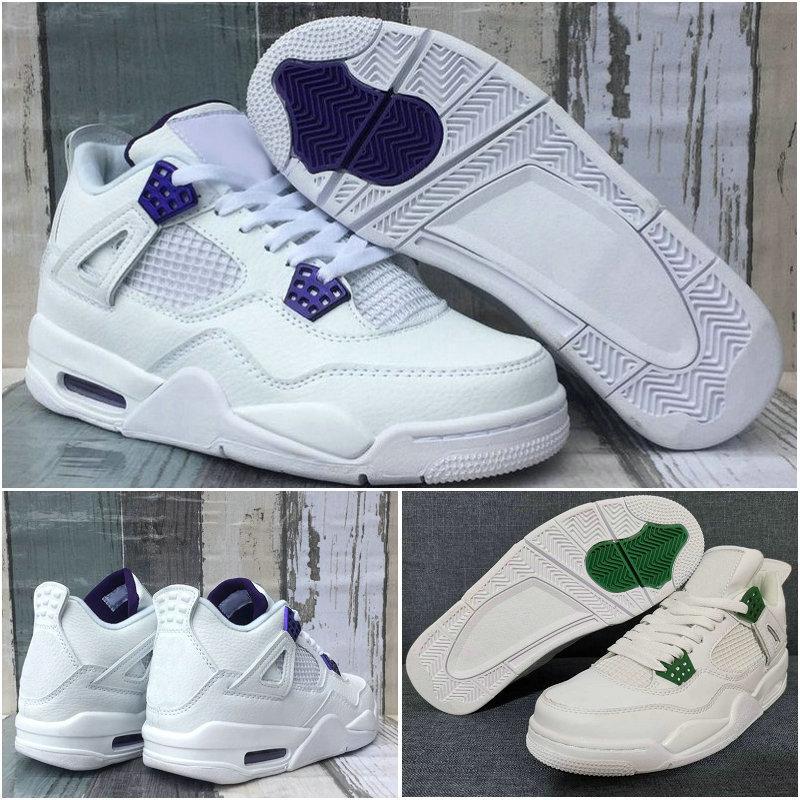 2020 mens scarpe da basket con pacco metallico 4 4s Pino verde corte viola jumpman pure soldi bianco neon bianco grigio scarpe da ginnastica da esterno