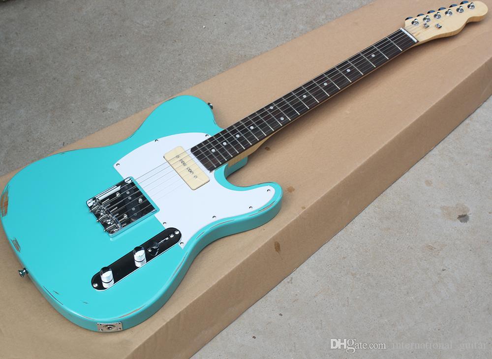 블루 빈티지 스타일 P (90) 픽업 전기 기타, 화염 메이플 넥, 로즈 우드 지판은 요청으로 사용자 정의 할 수 있습니다