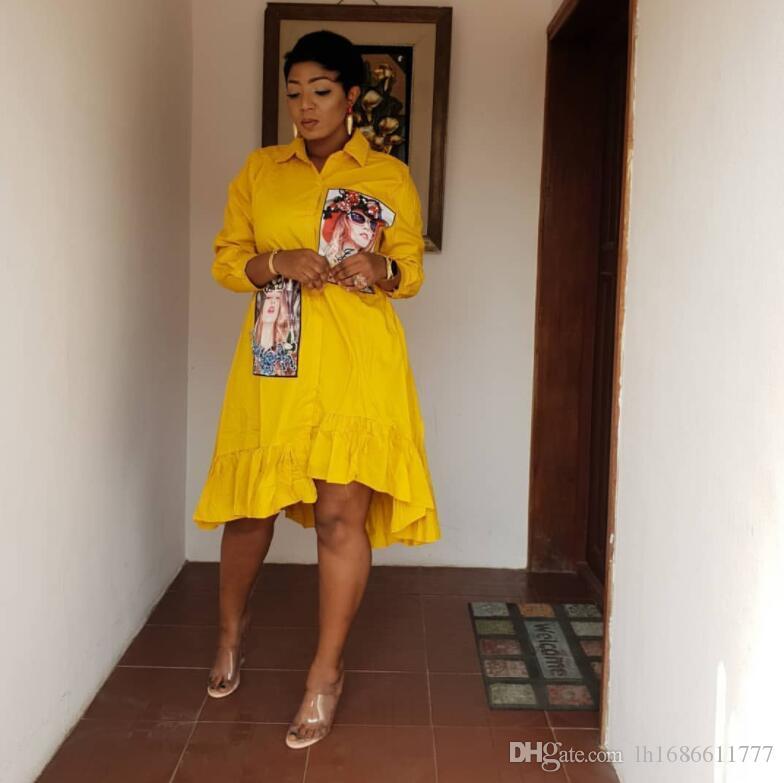 Euramerican estilo de 2019 mujeres del resorte de forma irregular dobla Una forma de dobladillo con la perla tachonado de la camisa blusas 7-manga de las camisas sueltas tapas atractivas
