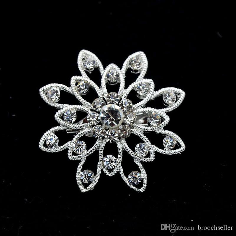1.5 بوصة الماس دبابيس بروش زهرة صغيرة مع أحجار الراين واضحة سباركلي الفضة مطلي الزفاف التبعي