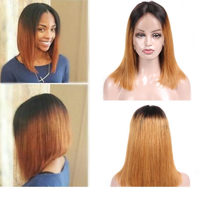 Ombre merletto della parte anteriore parrucche brasiliana diritta greggia pizzo dei capelli umani anteriore parrucche per donne di colore dei capelli del Virgin indiano T1B 30 Bob Parrucche