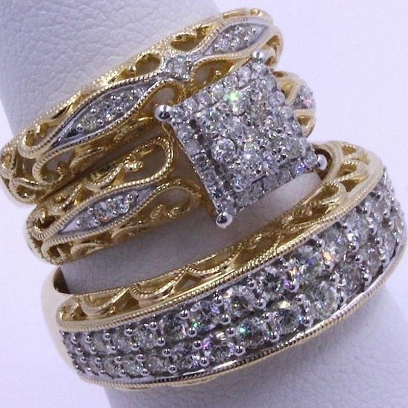 3pcs / set strass Wedding Party nupcial Birthstone Anel para as Mulheres Set Anel lindo Marca dois tons Bijuterias