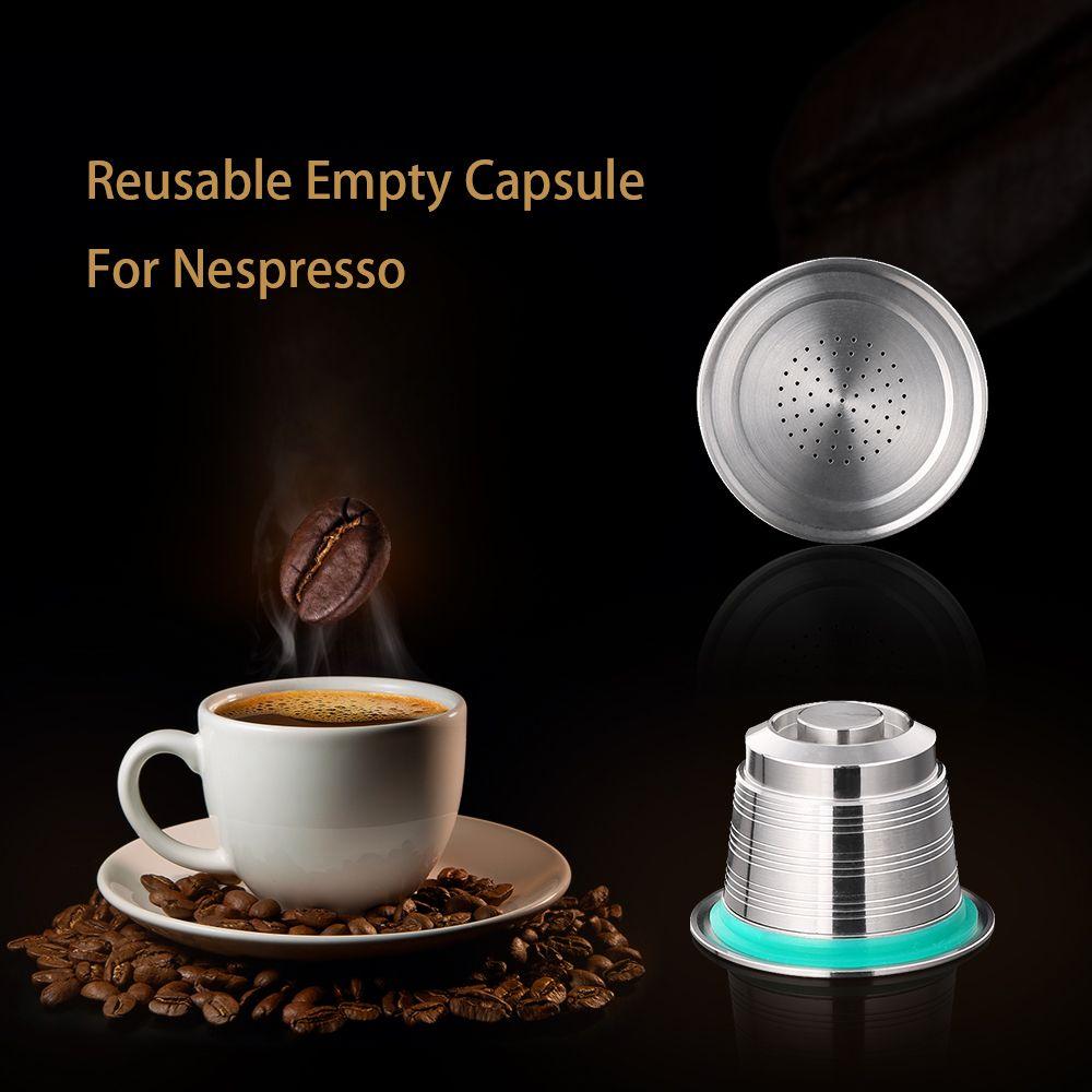 Neue Nespresso nachfüllbar Upgrade-Round Hole Wiederverwendbare Cafe Dripper Edelstahl Kapsel Metall wiederverwendbare Kaffee-Filter Cup leeren