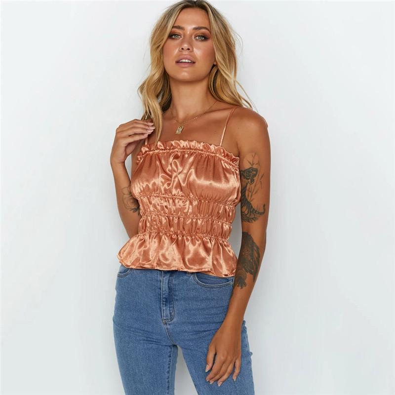 Crop Pieghe Camis di modo di colore naturale superiore casuale peplo Slash collo Camis Abbigliamento Donna progettista delle donne