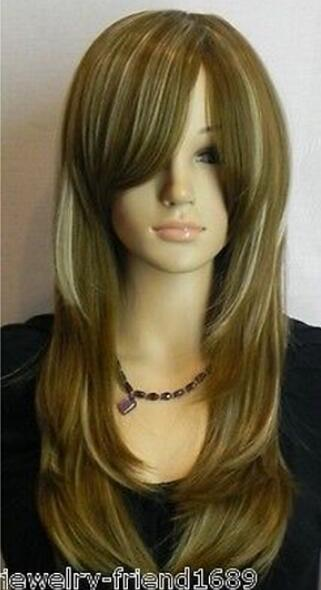 LIVRAISON GRATUITE + + Nouveau Cosplay attachant Longue ligne droite brun foncé blond Perruque mixte