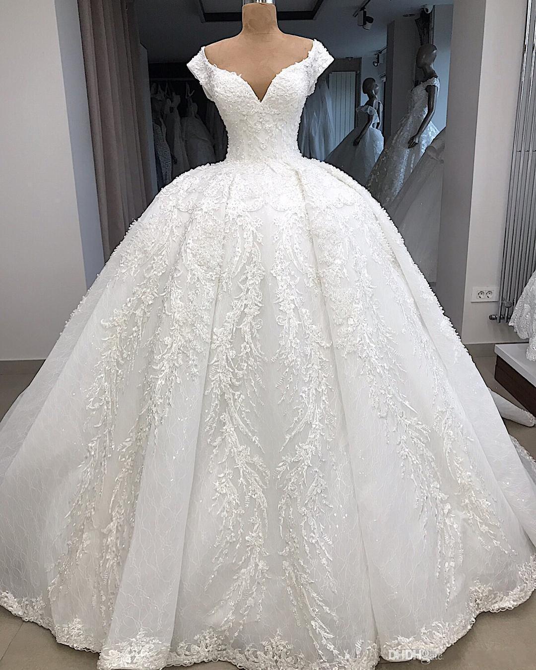 Arabic Dubai Princess Ball Gown Wedding Dresses Bridal Gowns V Neck Lace Applique robe abito da sposa Plus Size vestido de novia