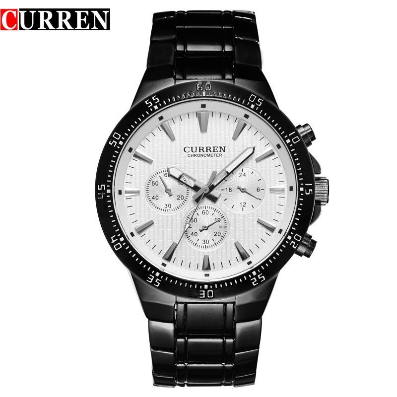 CURREN Fashion Full Steel кварцевые мужские часы аналоговые спортивные мужские наручные часы Classic BlackWhite Horloges Mannens Saat Reloj Hombre