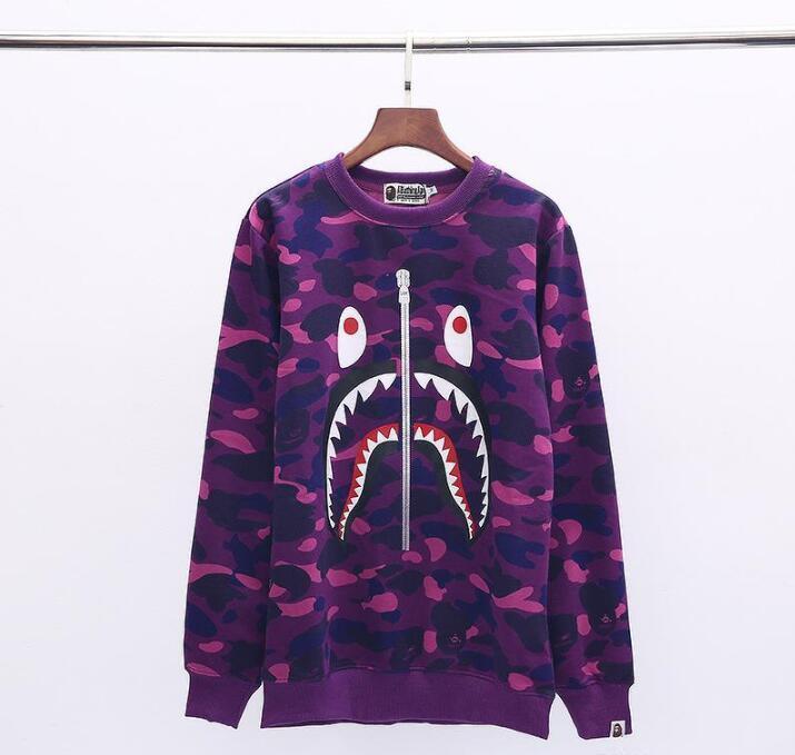 New Amante do tubarão Boca Imprimir 5 cores Camo Sweater Homens Mulheres Casual soltas em torno do pescoço Hip Hop Hoodies Sweater frete grátis