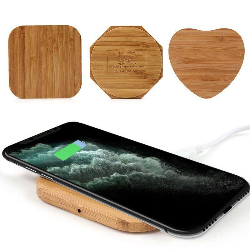 Tablet cavo di bambù senza fili del caricatore legno di legno Pad Qi di ricarica rapida USB Dock di ricarica per iPhone 11 Pro Max per Samsung note10 più