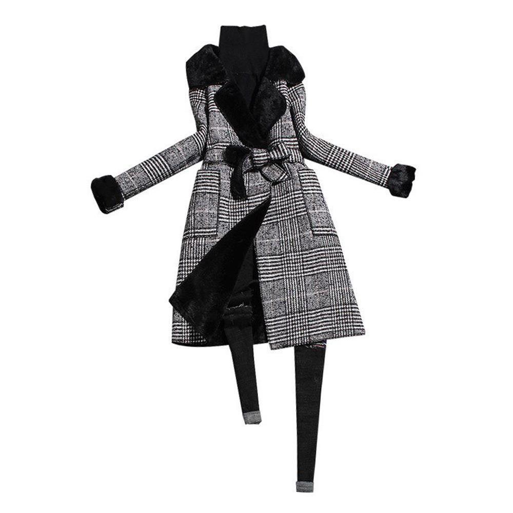 Европейская станция женщин 2019 осенью и зимой новой моды костюм воротник длинные клетчатые шерстяные пальто осень и зима высокого качества