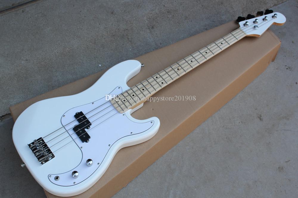 Özel Yeni 4 dizeleri Beyaz Gövde Maple Fingerboard Elektrik P Krom donanım, Beyaz Pickguard ile Bas Gitar, özelleştirmek sunuyoruz