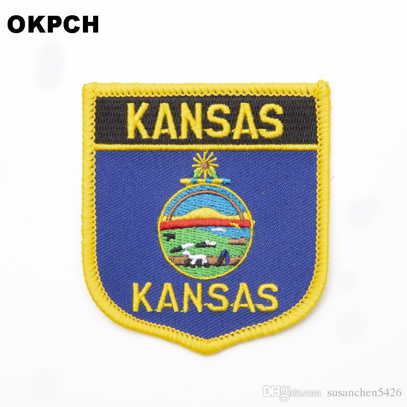 미국 캔자스 주 배지에 철 의류 스티커에 대한 수 놓은 옷 배지 의류 1pcs 6 * 7cm