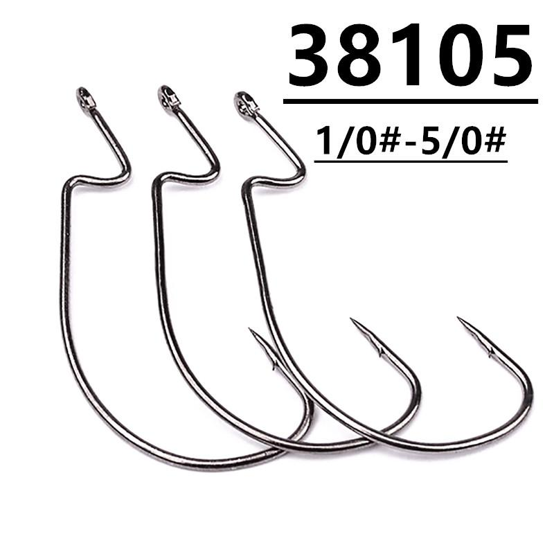 200pcs 38105 1/0#-5/0# Worm Hook High Carbon Steel Barbed Fishing Hooks Fishhooks Pesca Fishing Tackle Accessories A-043