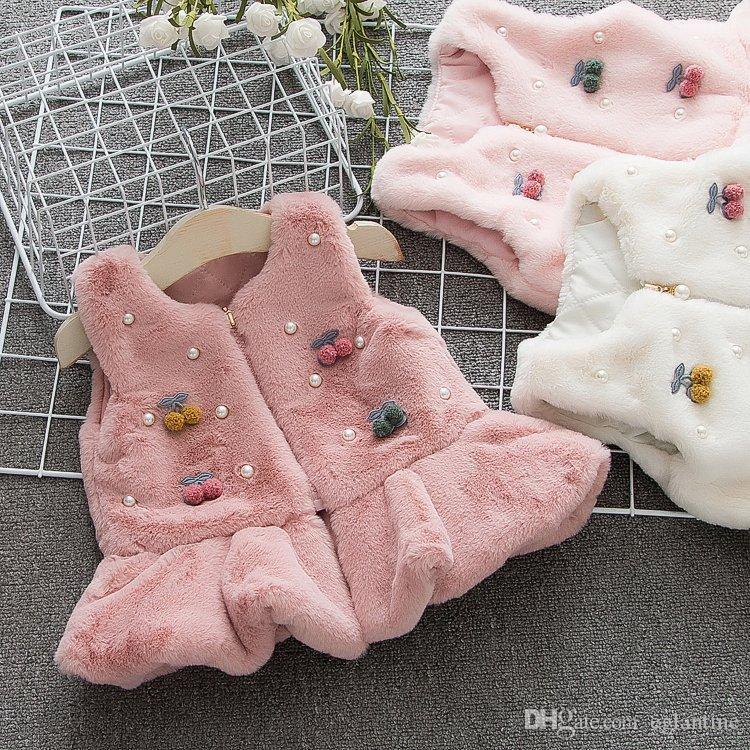 Winter Baby warme Weste aus Kunstpelz Fleece Kirschweste Mantel Prinzessin Party für Kinder Neugeborene Mädchen Westen Oberbekleidung Mäntel
