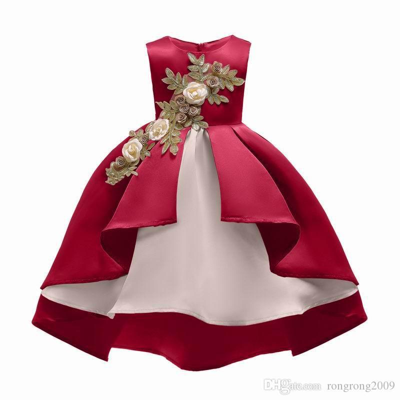 Compre Venta Al Por Menor 2019 Vestido De Niña Bordado Flor Navidad Año Nuevo Vestido De Princesa Para El Banquete De Boda Ropa De Los Niños 3 9y