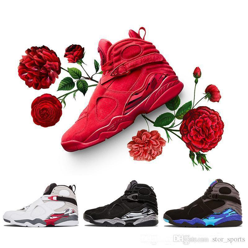 Valentine 2019 s Day Red 8 VII 8s hombres Zapatillas de baloncesto Aqua Chrome COUNTDOWN PACK para hombre Zapatillas deportivas al aire libre 8-13
