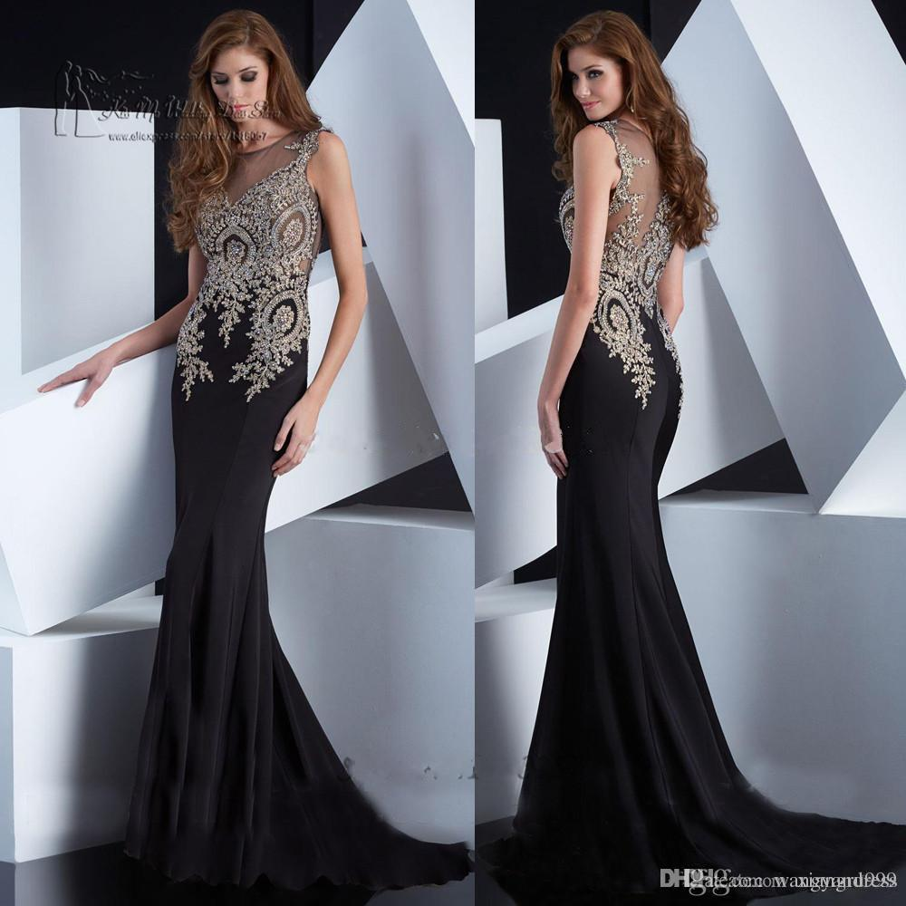 2017 Lace Appliqued Mermaid Evening Dresses Sheer Jewel Sleeveless Black Berta Prom Dress Sweep Train Custom Made Formal Party Gowns