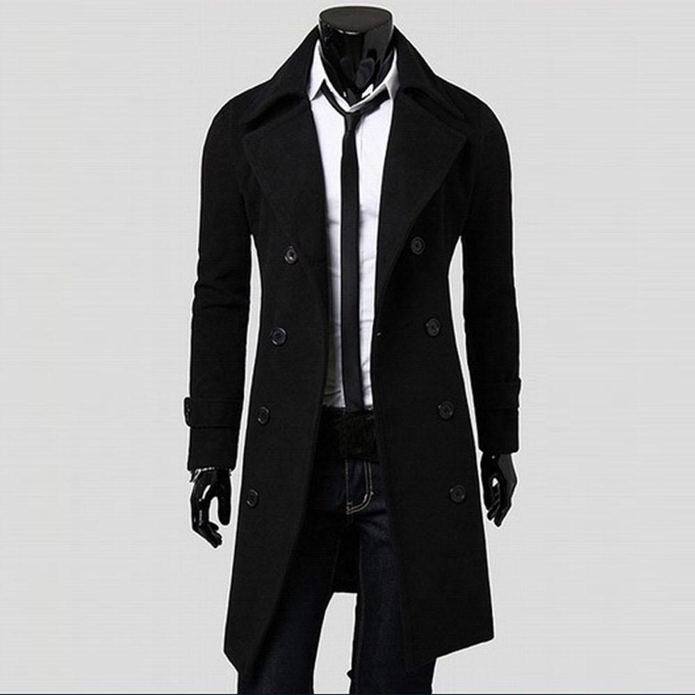 Mantel-Mann-Winter-langer Mantel-dünne stilvolle Graben zweireihige Long Jacket Parka Herren Mantel